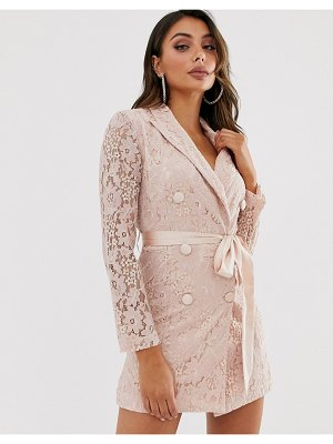 Love Triangle lace blazer dress with ribbon detail in taupe-pink