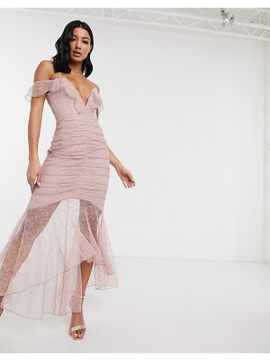 Love Triangle lace fishtail maxi dress with ruche detail-pink