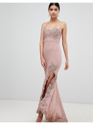 Love Triangle lace trim bandeau maxi dress with thigh split