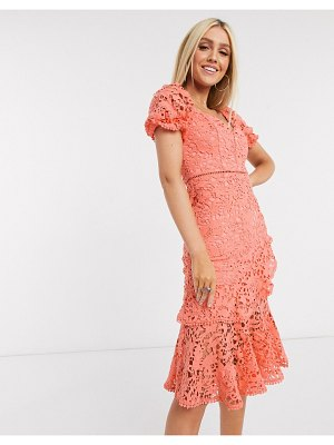 Love Triangle ruffle lace midi dress in coral-pink