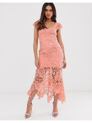 Love Triangle sweetheart neck lace dress with cupped top in soft coral