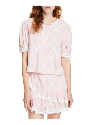 LoveShackFancy addie lace grid cotton blouse