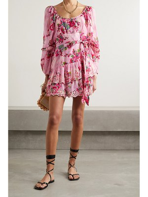 LoveShackFancy ambrosia printed broderie anglaise cotton and silk-blend mini dress
