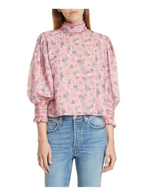 LoveShackFancy brooke floral puff sleeve high neck top