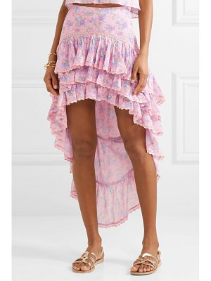 LoveShackFancy elle tiered asymmetric crochet-trimmed floral-print cotton-crepon skirt