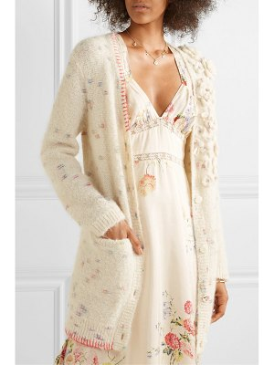 LoveShackFancy emanuelle embellished appliquéd knitted cardigan