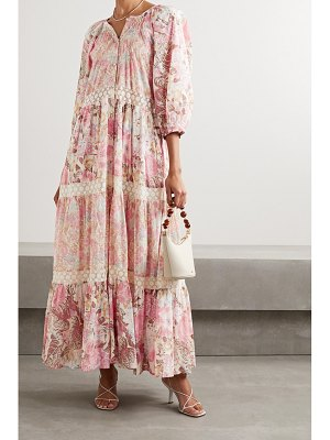 LoveShackFancy evren crocheted lace-trimmed floral-print cotton and silk-blend maxi dress