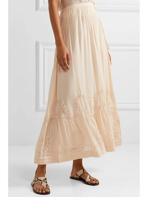 LoveShackFancy hillary embroidered silk-georgette maxi skirt