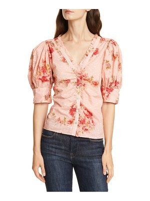 LoveShackFancy jules floral jacquard cotton top