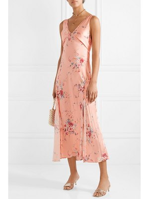 LoveShackFancy kendall ruffled floral-print silk-satin maxi dress