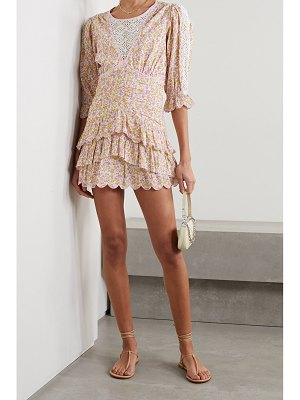 LoveShackFancy marquise crochet-trimmed tiered floral-print cotton-voile mini dress