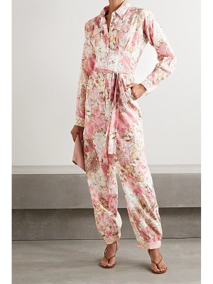 LoveShackFancy morellia belted crochet-trimmed floral-print cotton-voile jumpsuit