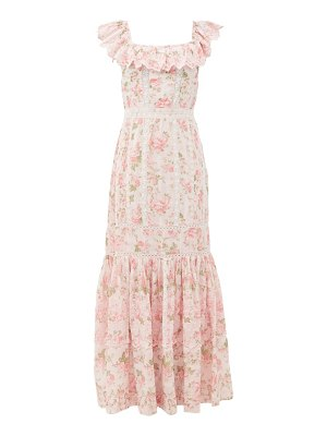 LoveShackFancy niko ruffled lace-insert floral-print cotton dress