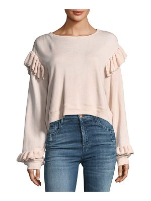 LOVESHACKFANCY Round-Neck Long-Sleeve Sweatshirt W/ Ruffled Trim