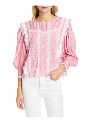 LoveShackFancy taz reversible floral lace inset cotton & silk blouse