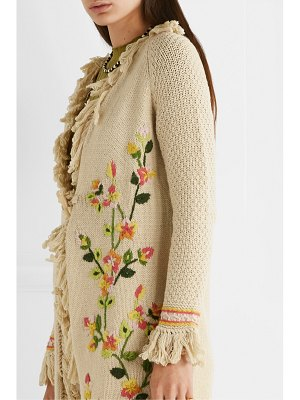 LoveShackFancy valencia fringed embroidered knitted cardigan