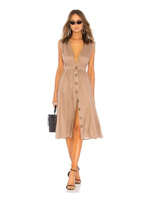 LPA Shirred Button Up Dress