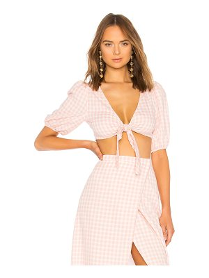 LPA Tie Front Top With Puff Sleeves