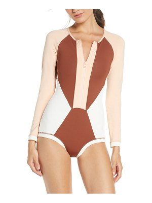 L*SPACE mod front zip long sleeve one-piece swimsuit