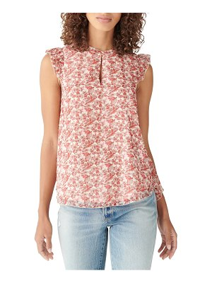 Lucky Brand floral ruffle detail sleeveless blouse
