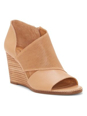 Lucky Brand jedrek perforated open toe wedge bootie