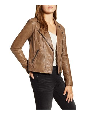 Lucky Brand worn leather moto jacket