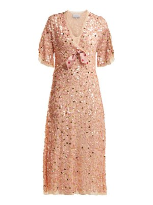 Luisa Beccaria Bow Trim Sequinned Chiffon Dress