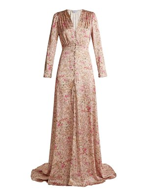Luisa Beccaria Floral-print V-neck satin gown