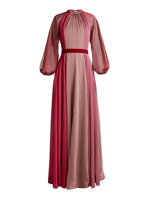 Luisa Beccaria Ruffled-neck panelled chiffon gown