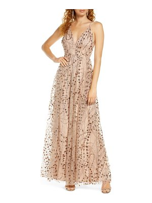 Lulus embellished mesh open back gown