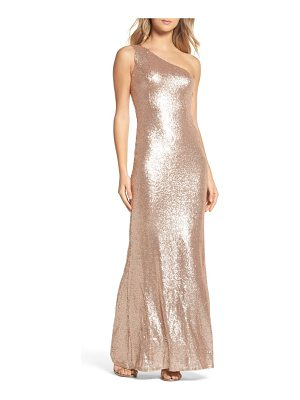 LULUS Sequin One-Shoulder Trumpet Gown
