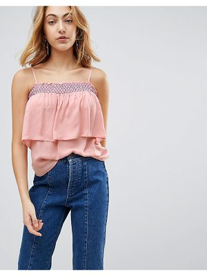 LUNIK Bardot Ruffle Top With Embroiderry. Trim