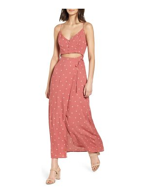 LUSH Cutout Wrap Front Maxi Dress