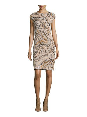 M MISSONI Cap-Sleeve Geode Jacquard Sheath Dress