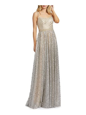 Mac Duggal a-line metallic lattice gown