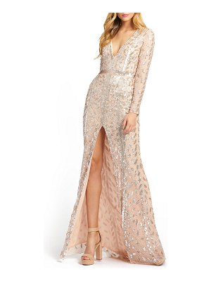 Mac Duggal Beaded V-Neck Long-Sleeve Gown with Slit