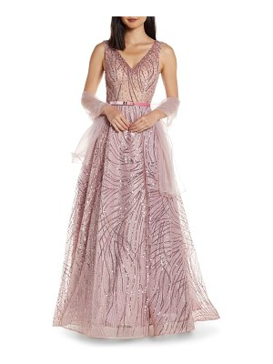 Mac Duggal cat tail sequin v-neck prom dress