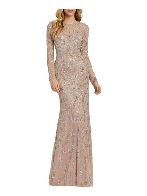 Mac Duggal 6-Week Shipping Lead Time Damask Sequin Long-Sleeve Column Gown