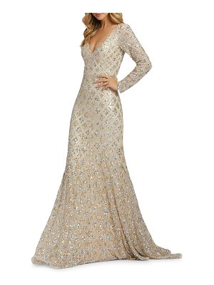 Mac Duggal 6-Week Shipping Lead Time Diamond Pattern Sequin V-Neck Long-Sleeve Column Gown