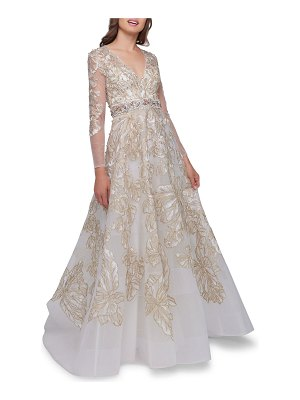 Mac Duggal Embellished V-Neck Illusion Long-Sleeve Gown w/ Beaded Waist
