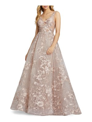 Mac Duggal 6-Week Shipping Lead Time Floral Embroidered Empire Illusion Ball Gown