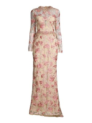Mac Duggal floral embroidered tulle column gown