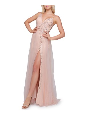 Mac Duggal Floral Embroidered & Tulle Overlay Sleeveless Gown w/ Thigh Slit