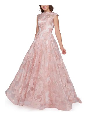 Mac Duggal Floral-Print Beaded Bateau-Neck Cap-Sleeve Pleated Ball Gown