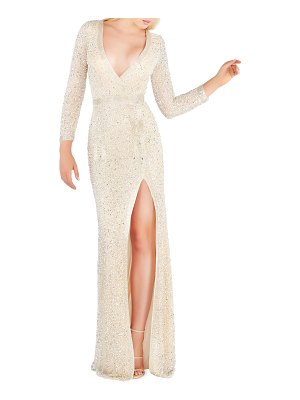Mac Duggal Long-Sleeve Beaded V-Neck Column Gown