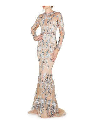 Mac Duggal Long-Sleeve Floral Lace Jewel-Neck Gown
