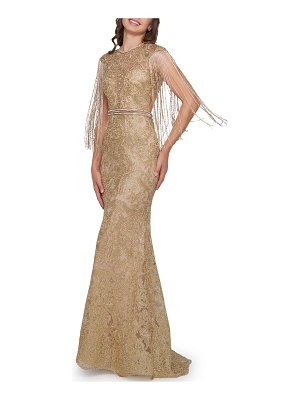 Mac Duggal Metallic Crewneck Beaded Fringe-Sleeve Open-Back Trumpet Gown