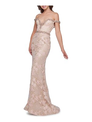 Mac Duggal Off-the-Shoulder Beaded Trim Lace & Floral Embroidered Trumpet Gown