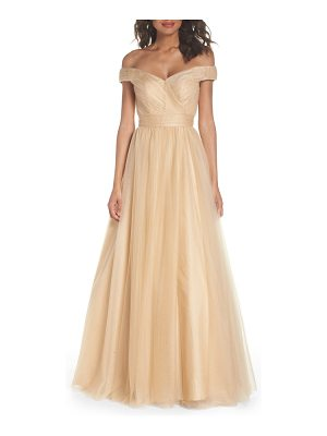 IEENA FOR MAC DUGGAL mac duggal off the shoulder tulle ballgown