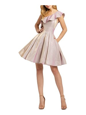 Mac Duggal ruffle one-shoulder metallic skater dress